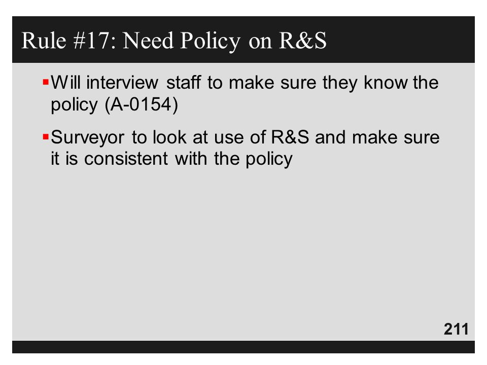 Rule #17: Need Policy on R&S