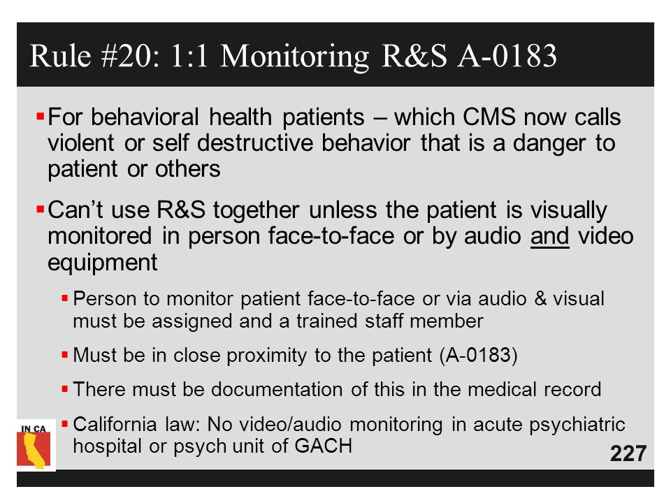 Rule #20: 1:1 Monitoring R&S A-0183