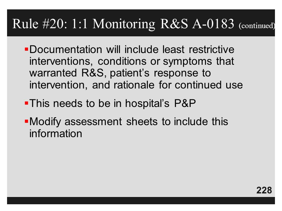 Rule #20: 1:1 Monitoring R&S A-0183 (continued)