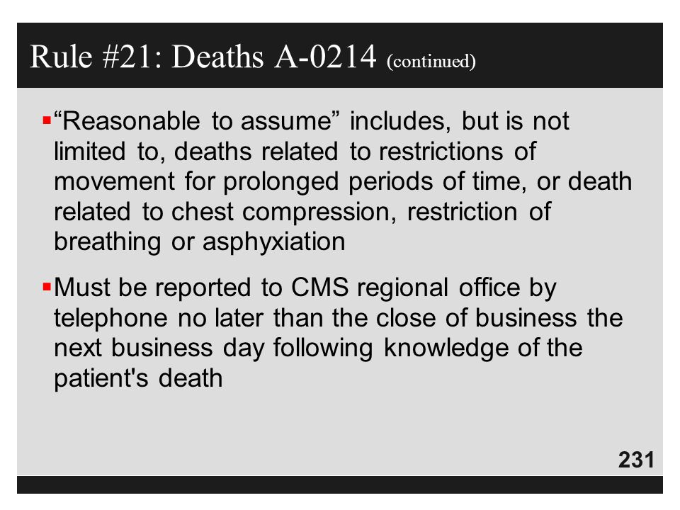 Rule #21: Deaths A-0214 (continued)