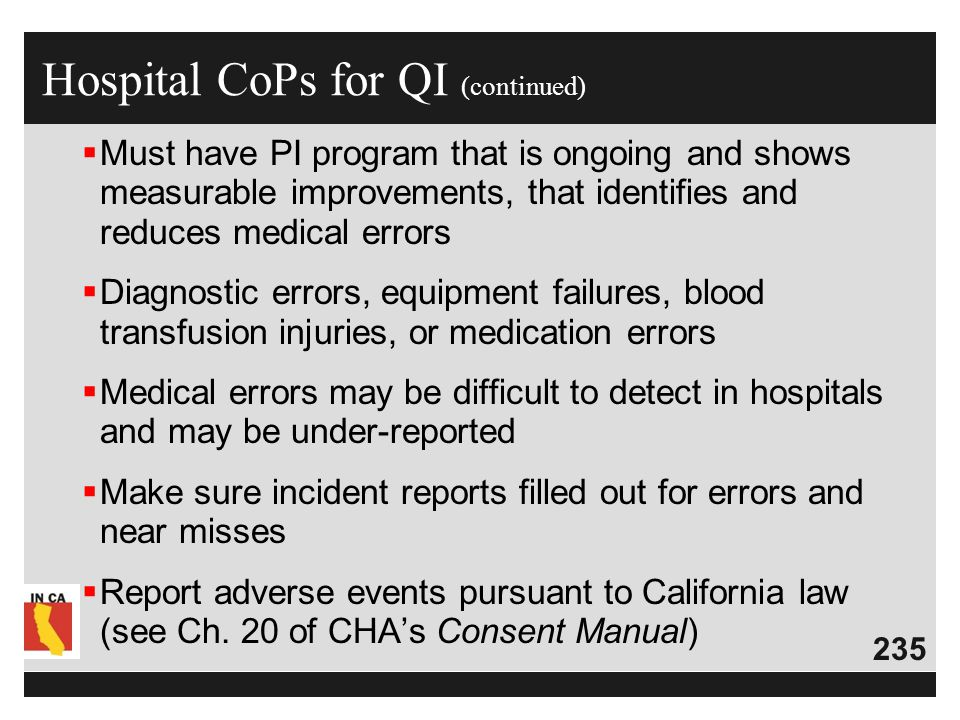 Hospital CoPs for QI (continued)