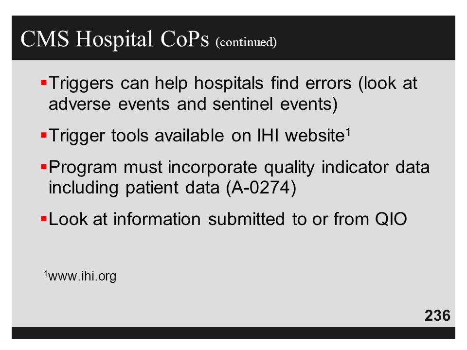 CMS Hospital CoPs (continued)
