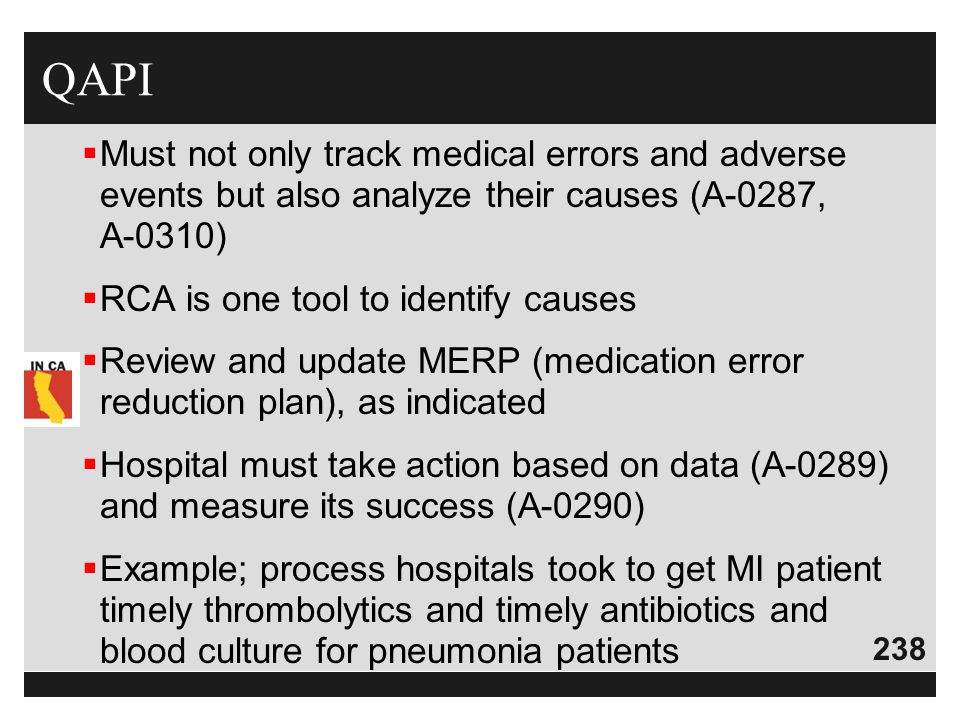 QAPI Must not only track medical errors and adverse events but also analyze their causes (A-0287, A-0310)