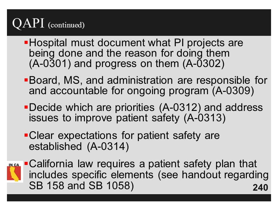 QAPI (continued) Hospital must document what PI projects are being done and the reason for doing them (A-0301) and progress on them (A-0302)