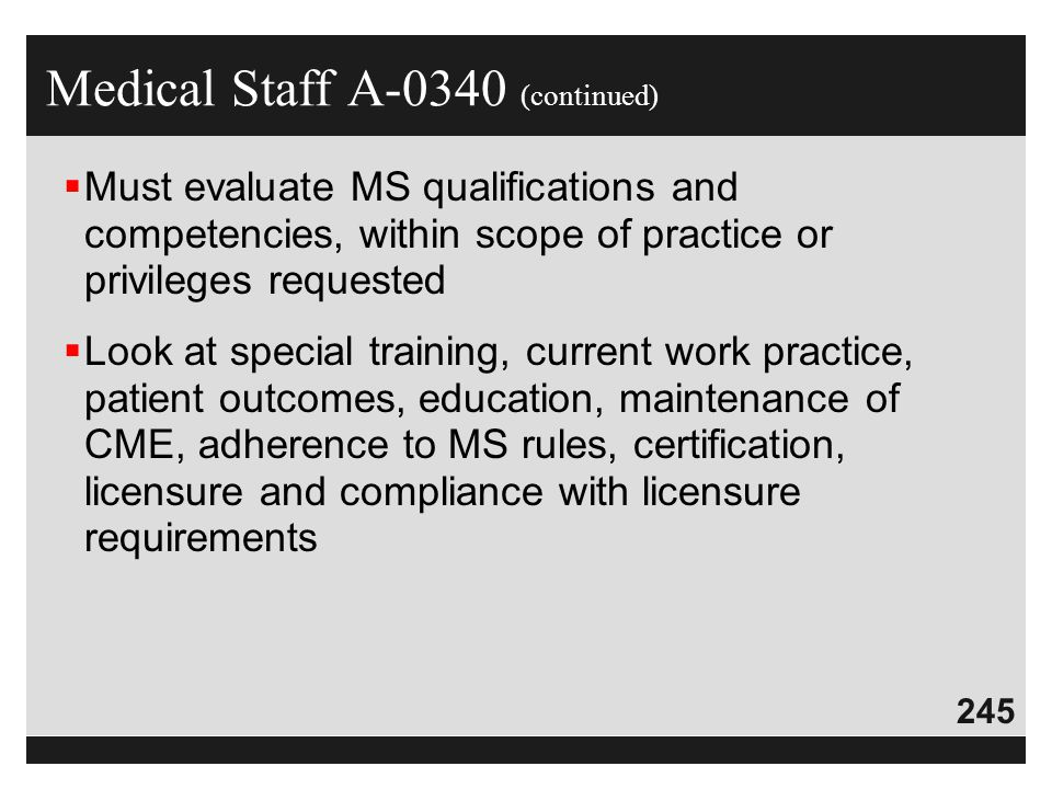 Medical Staff A-0340 (continued)