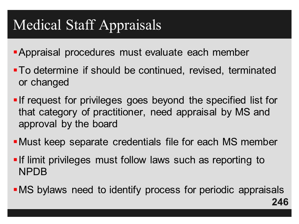 Medical Staff Appraisals