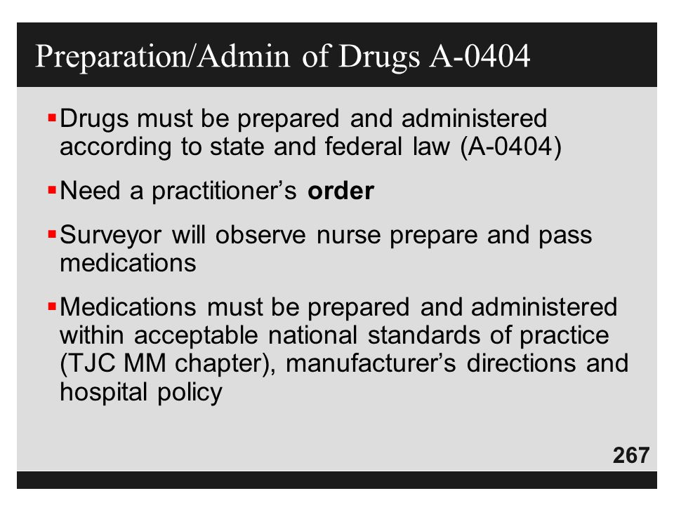Preparation/Admin of Drugs A-0404