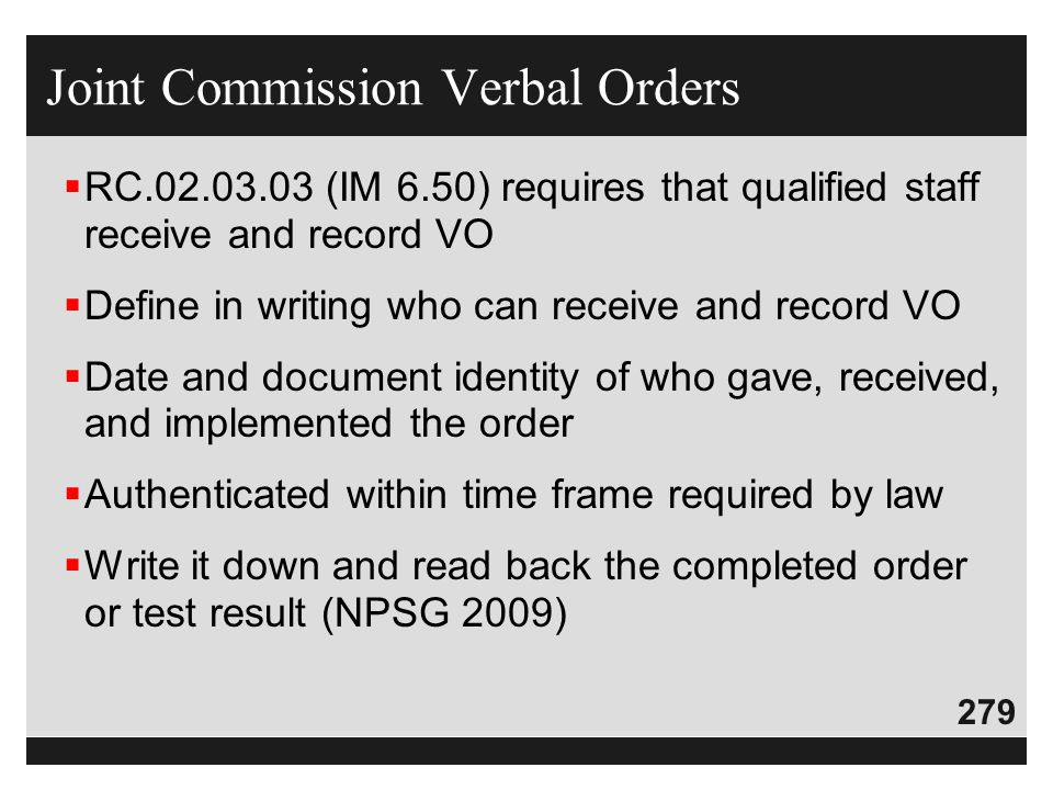 Joint Commission Verbal Orders