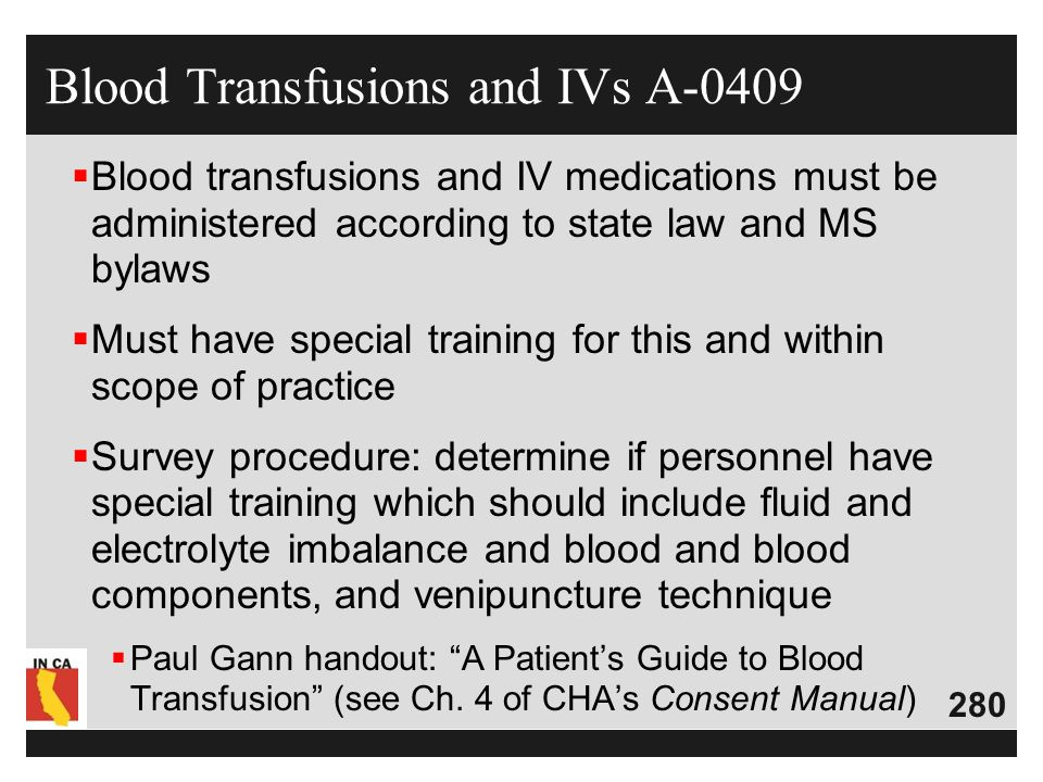 Blood Transfusions and IVs A-0409