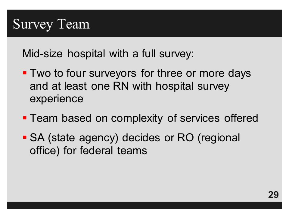 Survey Team Mid-size hospital with a full survey: