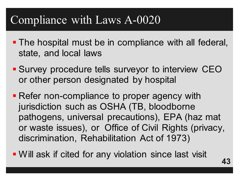 Compliance with Laws A-0020