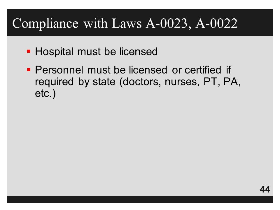 Compliance with Laws A-0023, A-0022