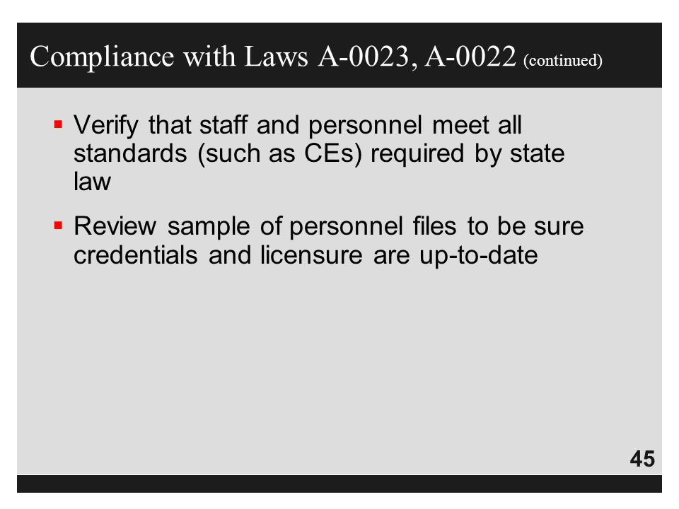 Compliance with Laws A-0023, A-0022 (continued)