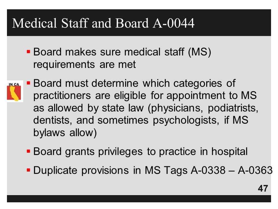 Medical Staff and Board A-0044