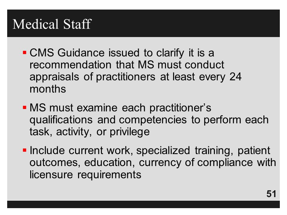 Medical Staff CMS Guidance issued to clarify it is a recommendation that MS must conduct appraisals of practitioners at least every 24 months.
