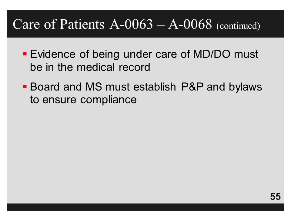 Care of Patients A-0063 – A-0068 (continued)