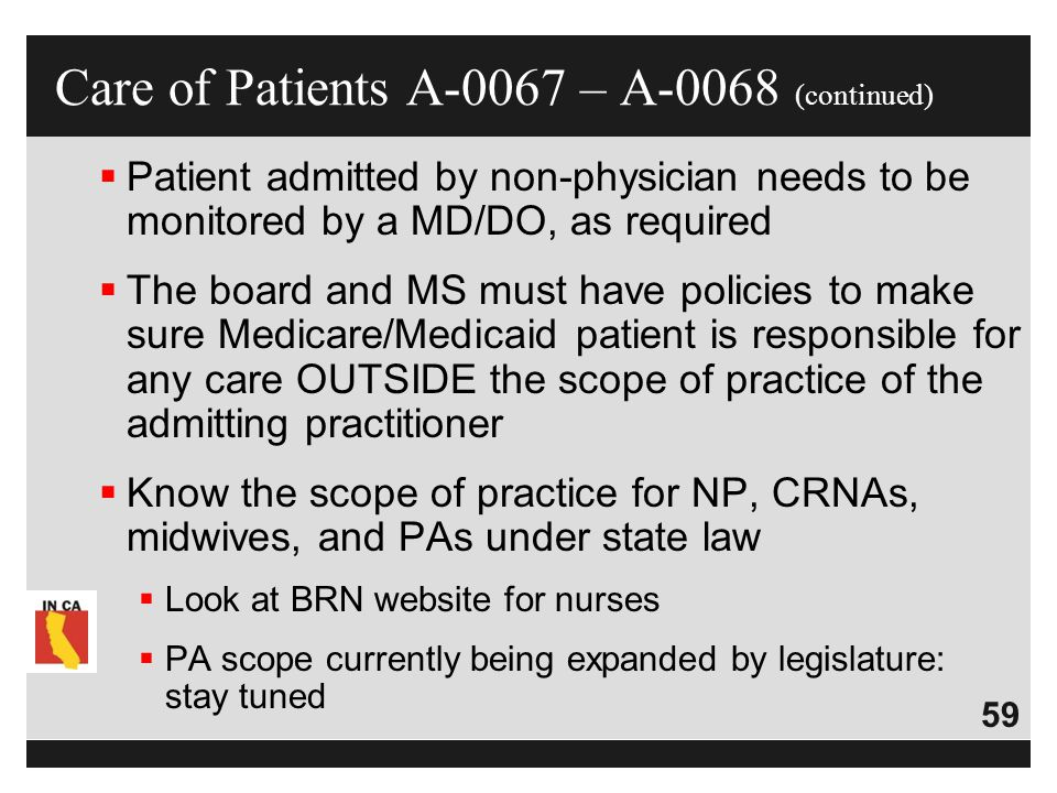 Care of Patients A-0067 – A-0068 (continued)