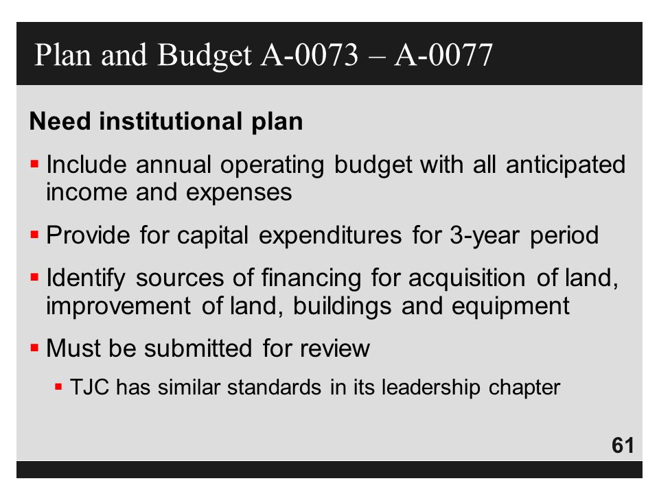 Plan and Budget A-0073 – A-0077 Need institutional plan