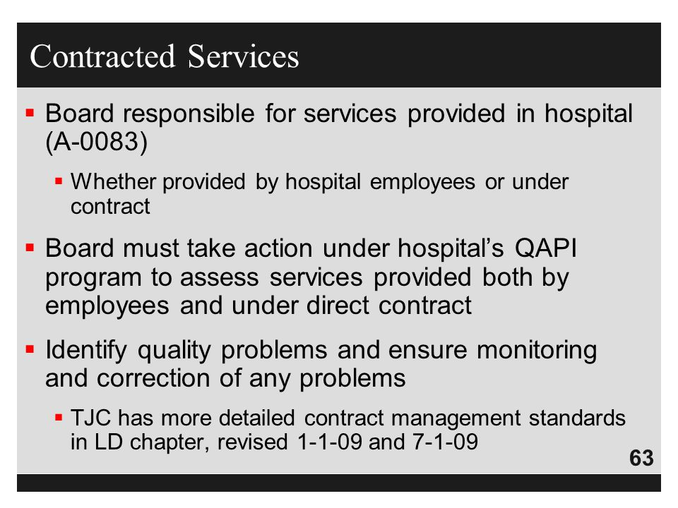 Contracted Services Board responsible for services provided in hospital (A-0083) Whether provided by hospital employees or under contract.