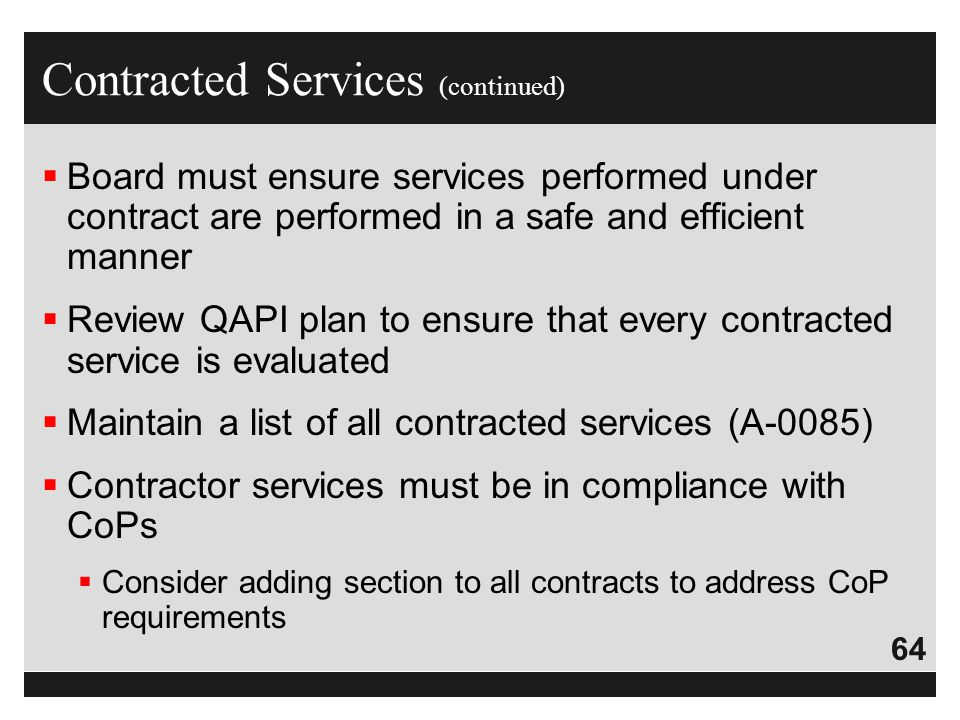 Contracted Services (continued)