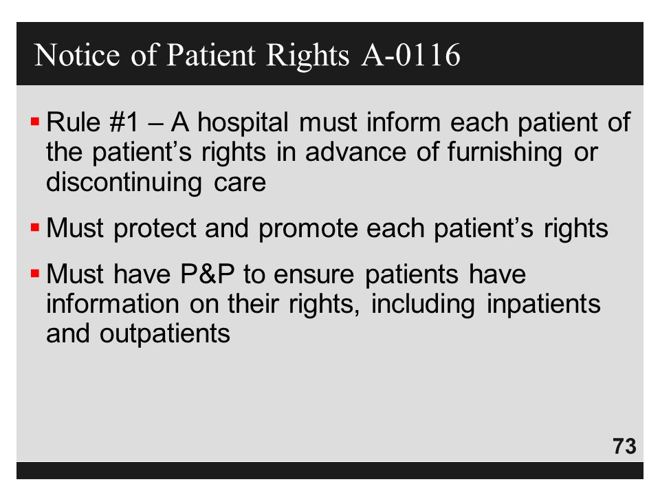 Notice of Patient Rights A-0116