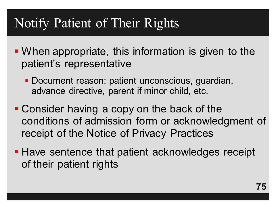 Notify Patient of Their Rights