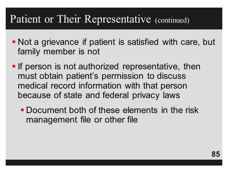 Patient or Their Representative (continued)
