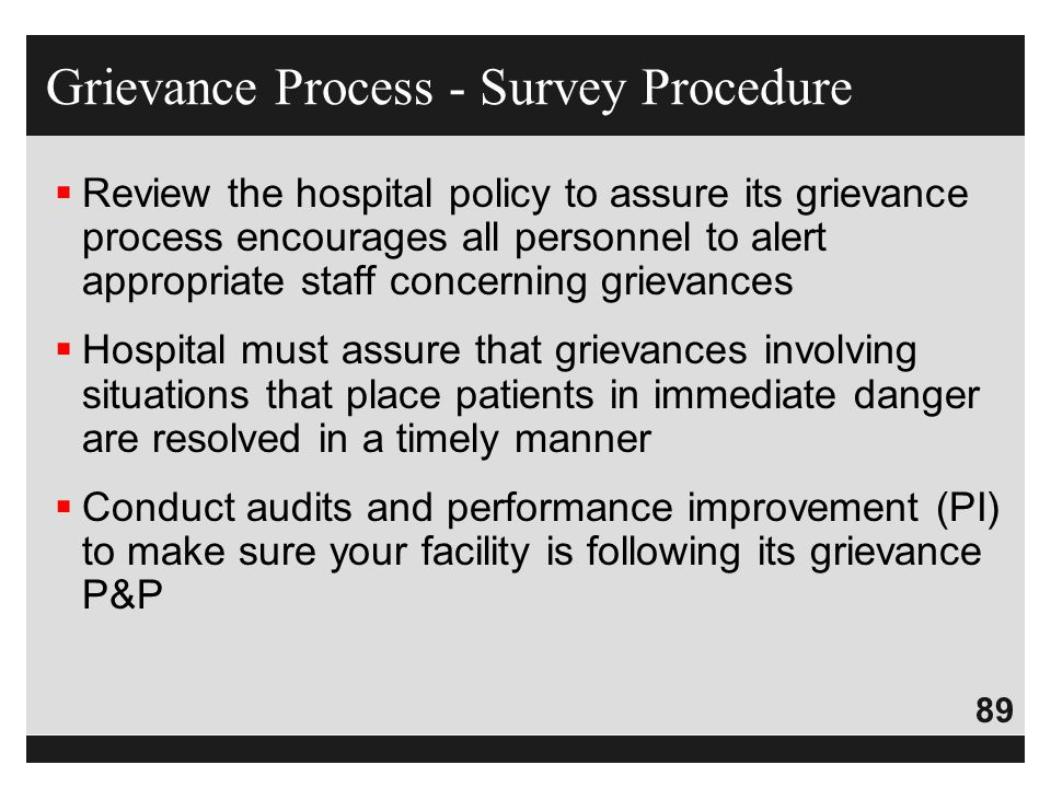 Grievance Process - Survey Procedure