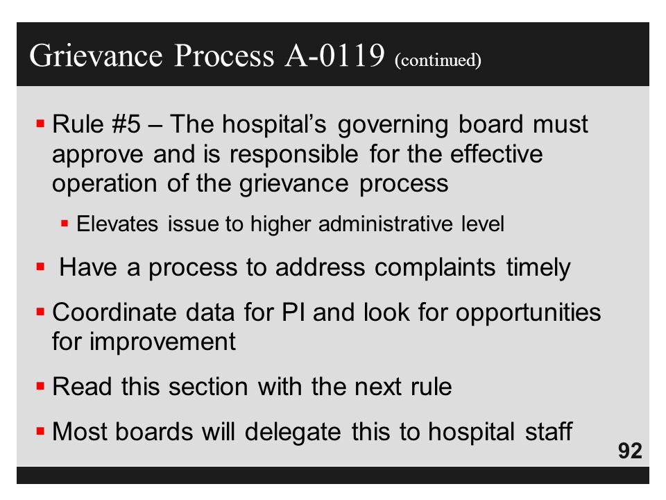 Grievance Process A-0119 (continued)