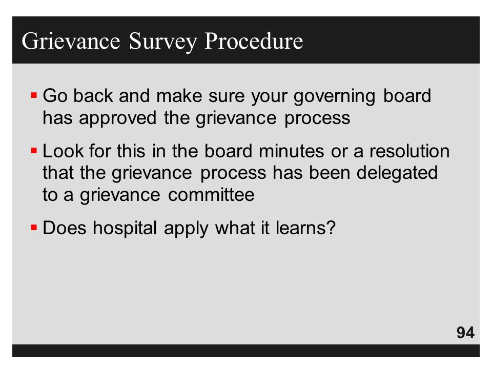 Grievance Survey Procedure