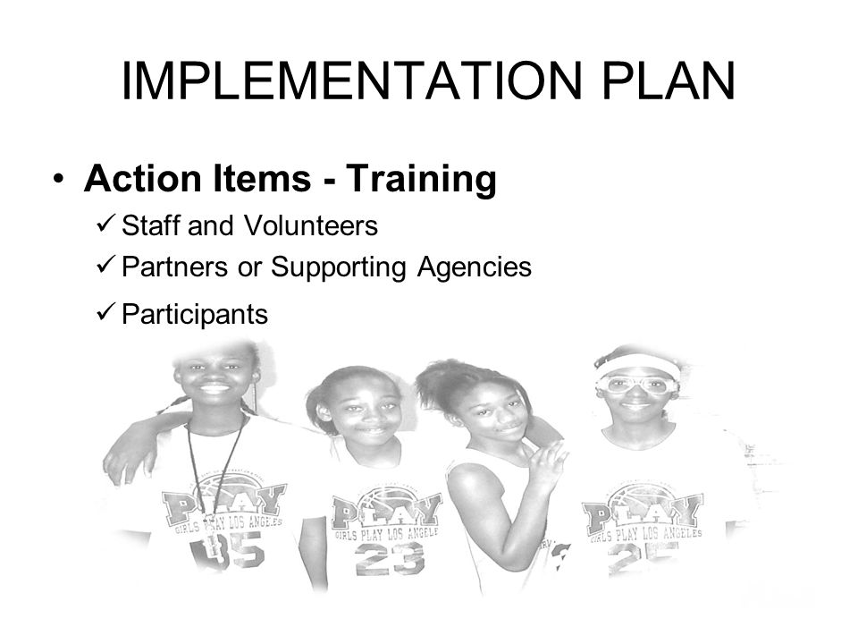 IMPLEMENTATION PLAN Action Items - Training Staff and Volunteers