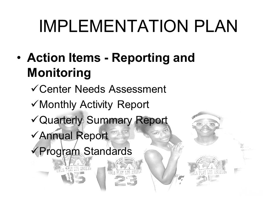IMPLEMENTATION PLAN Action Items - Reporting and Monitoring