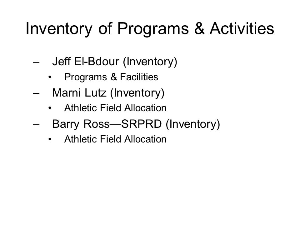 Inventory of Programs & Activities