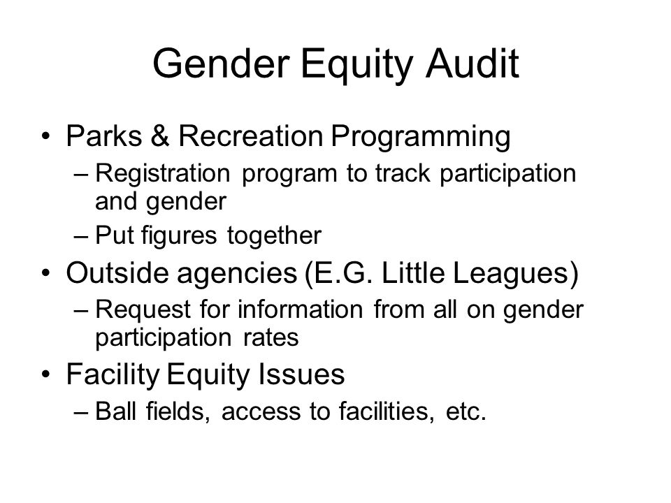 Gender Equity Audit Parks & Recreation Programming