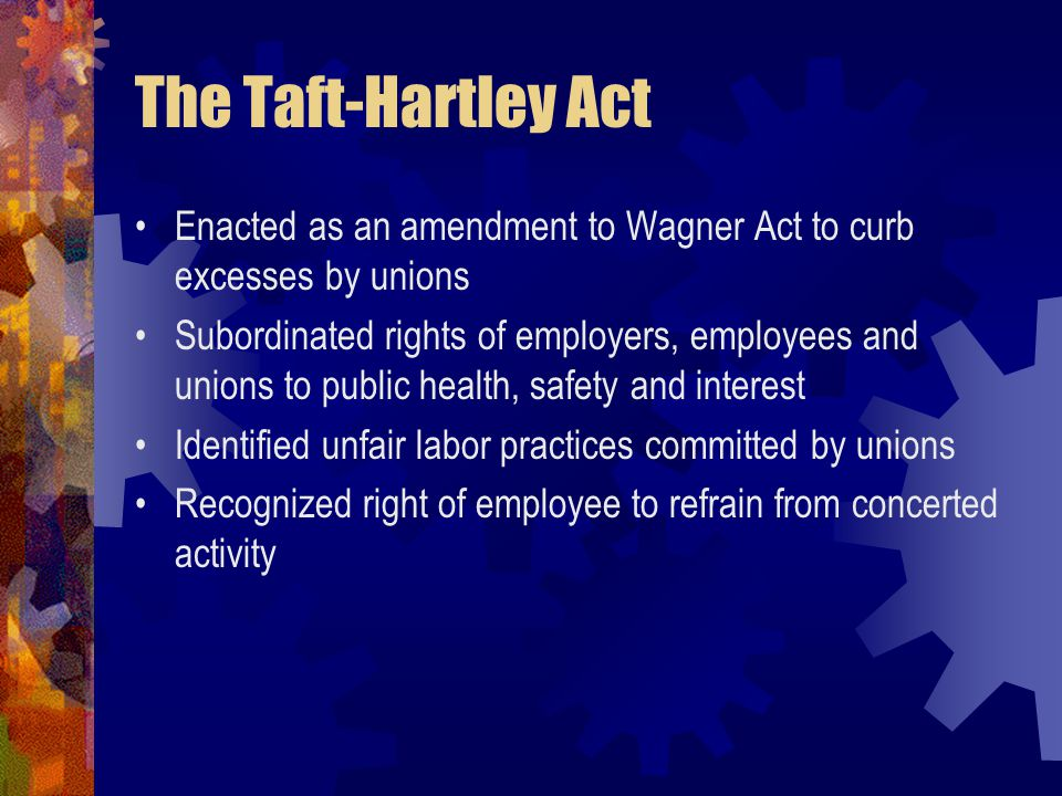The Taft-Hartley Act Enacted as an amendment to Wagner Act to curb excesses by unions.
