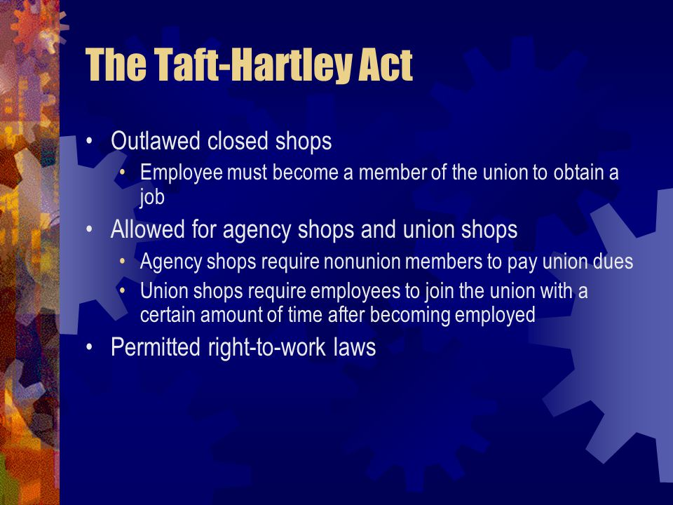The Taft-Hartley Act Outlawed closed shops
