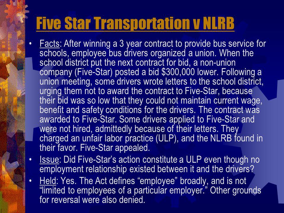 Five Star Transportation v NLRB