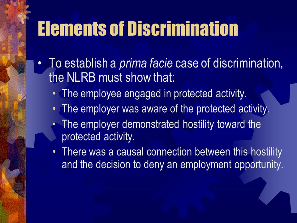 Elements of Discrimination