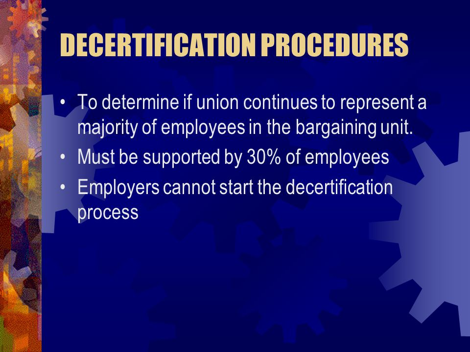 DECERTIFICATION PROCEDURES
