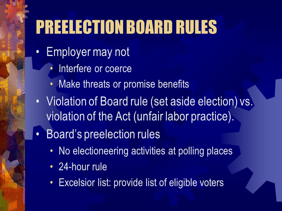 PREELECTION BOARD RULES