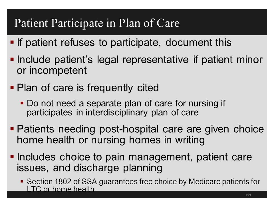 Patient Participate in Plan of Care