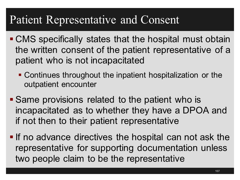 Patient Representative and Consent