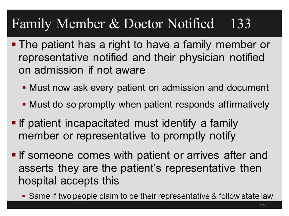 Family Member & Doctor Notified 133
