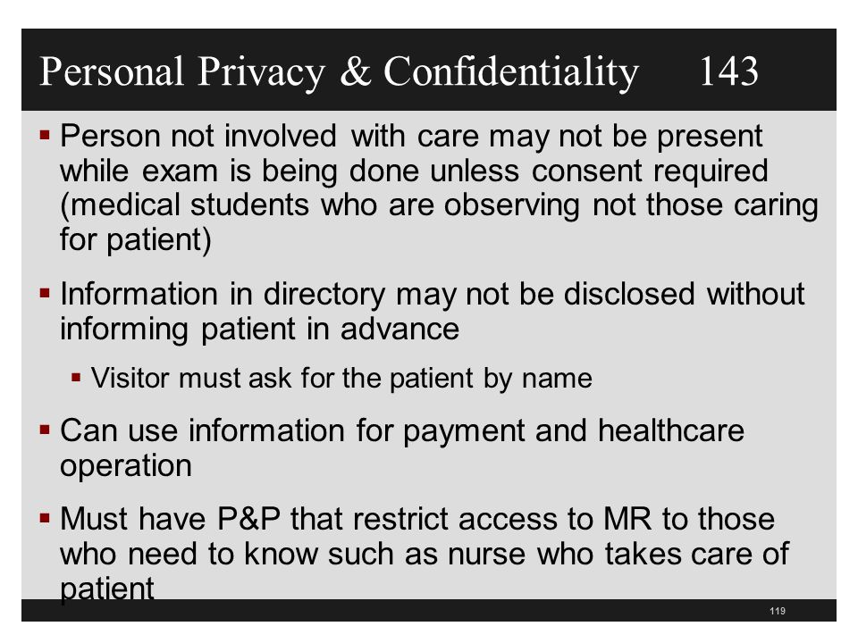 Personal Privacy & Confidentiality 143