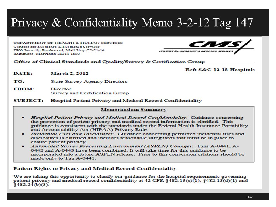Privacy & Confidentiality Memo 3-2-12 Tag 147