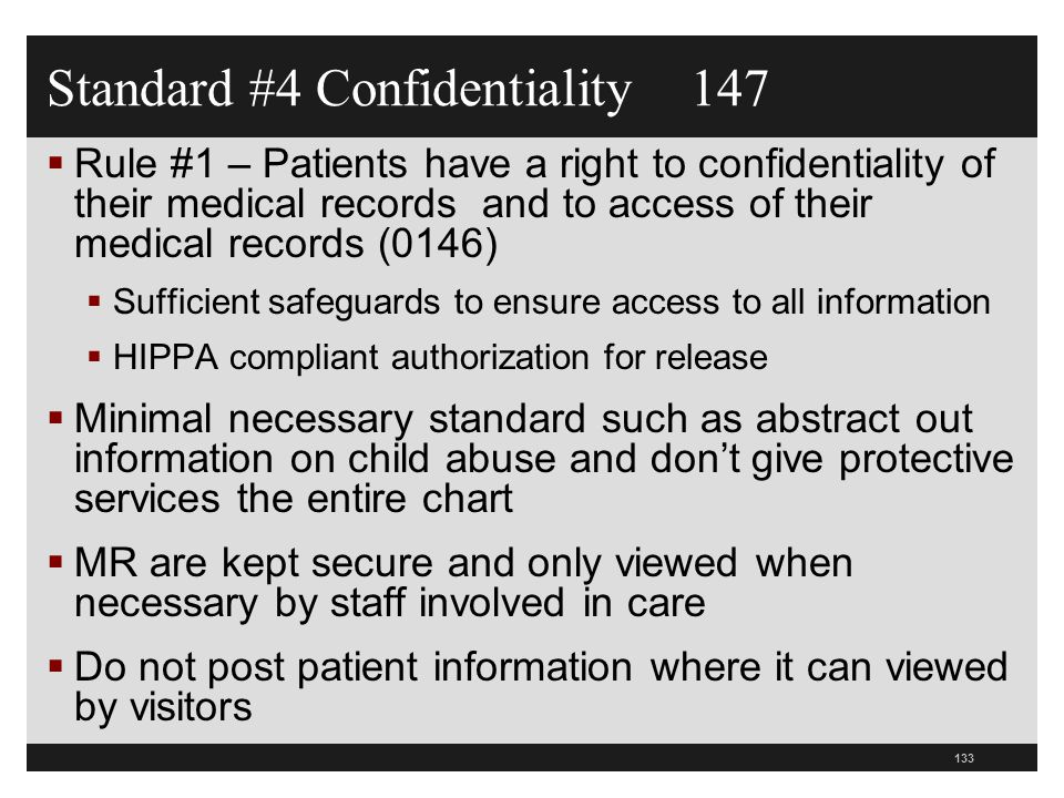 Standard #4 Confidentiality 147