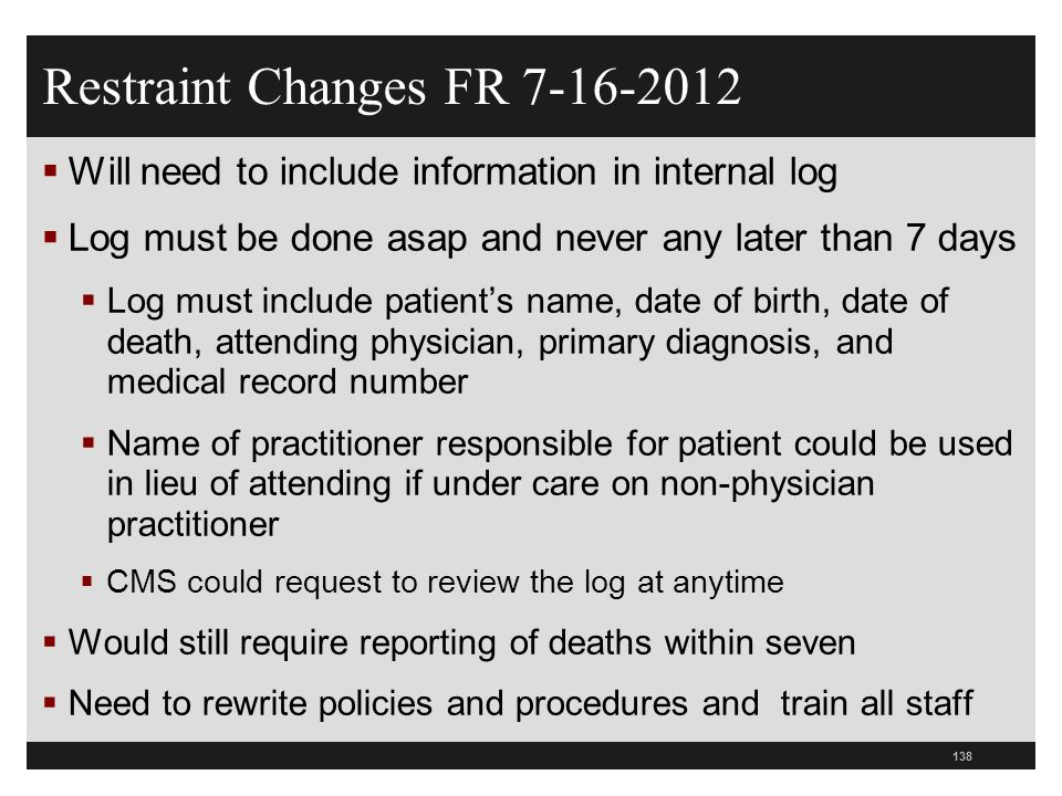 Restraint Changes FR 7-16-2012