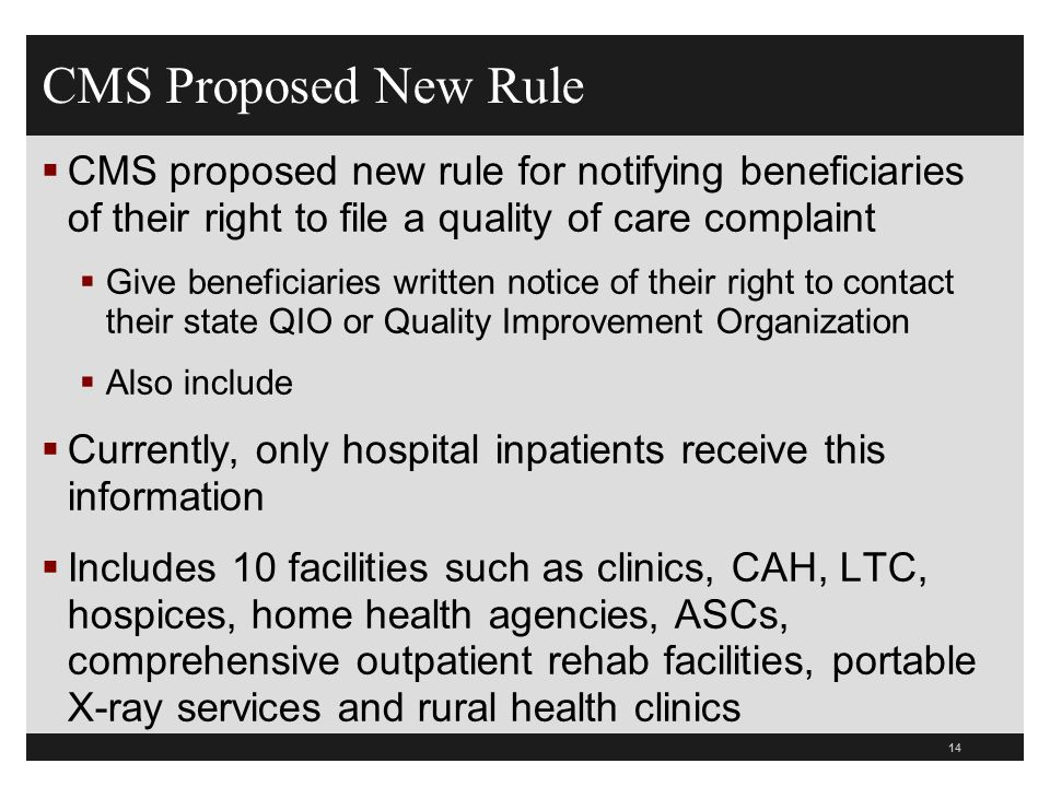 CMS Proposed New Rule CMS proposed new rule for notifying beneficiaries of their right to file a quality of care complaint.