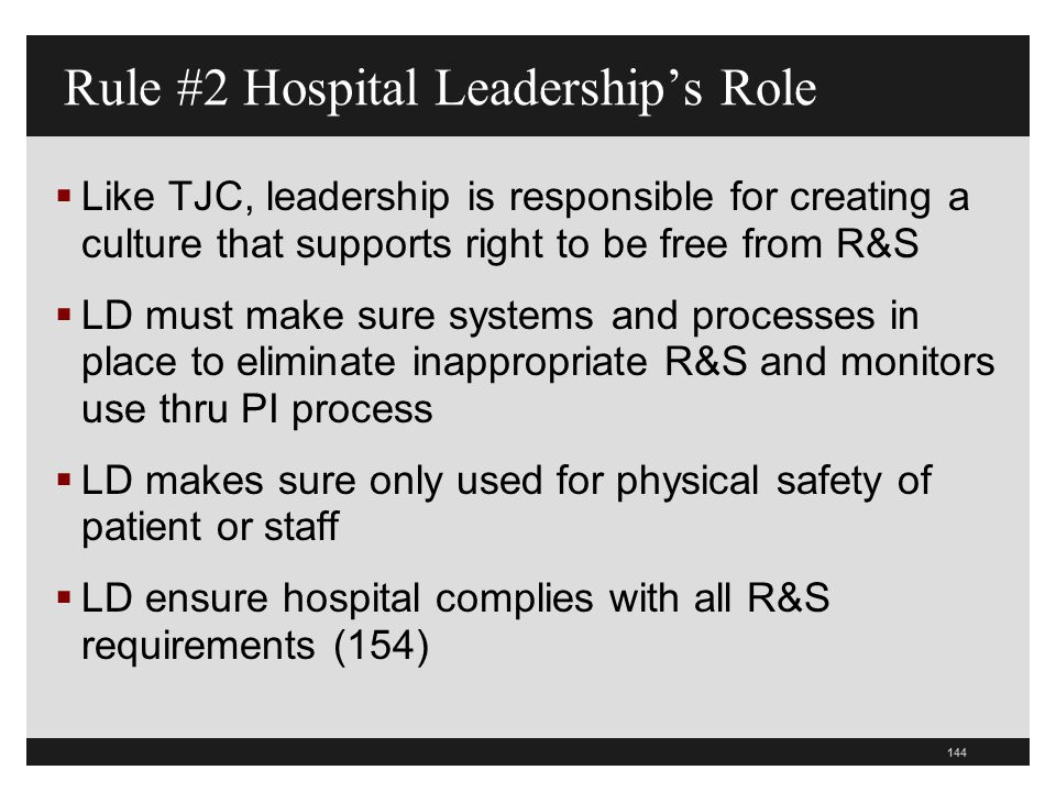 Rule #2 Hospital Leadership's Role