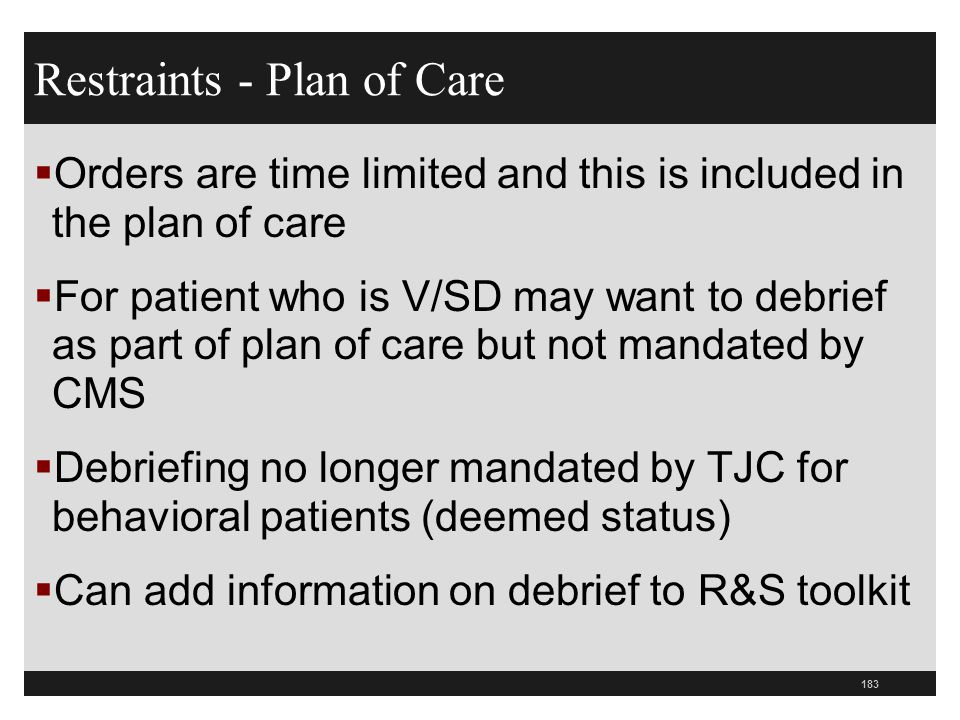 Restraints - Plan of Care